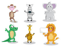 Six cartoon animals isolated on white Stock Image