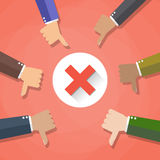 Six cartoon Businessmans hands hold thumbs down. negative checkmark in center, vector illustration flat design on red Royalty Free Stock Photo