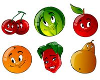 Six cartoon fruit