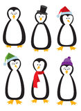 Six Cartoon Penguins Royalty Free Stock Photography