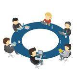 Six cartoon people work sitting round table Stock Photography