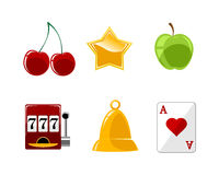 Six casino icons set Royalty Free Stock Photography