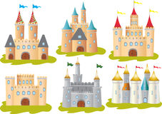 Six castles. Six stylized vector illustrations of castles with battlements and turrets Stock Photography