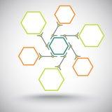 Six cellules sont reliées à une une autre couleur Image stock