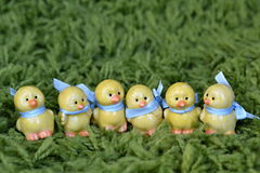 Six ceramic Easter chickens Royalty Free Stock Image