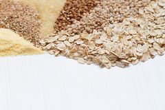 Six cereals on a white background. In a fan-shaped Royalty Free Stock Image