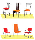 Six chairs. Chairs of different colors and sizes from different materials Royalty Free Stock Photo