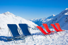 Six chairs on top of mountain Royalty Free Stock Photo