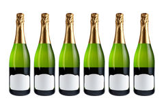 Six champagne bottles Stock Photography