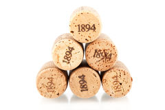 Six champagne corks Stock Photography