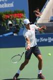 Six champions Novak Djokovic de Grand Chelem de périodes pratiquent pour l'US Open 2014 Images libres de droits
