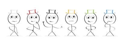 Six chapeaux Pensée illustration stock