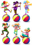 Six characters of clowns Royalty Free Stock Photos