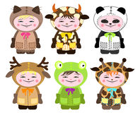 Six children in costumes of animals Royalty Free Stock Photo