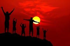 Six Children Jumping Mountain Sunset Stock Image