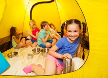 Six children play in a tent Royalty Free Stock Photos