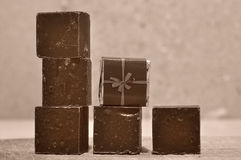 Six chocolate blocks Stock Photography