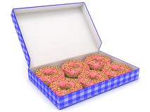 Six chocolate donuts in blue box. Side view. 3D render Stock Photos