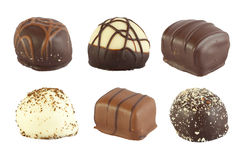Six chocolats de luxe. Photographie stock