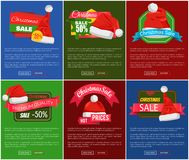 Six Christmas Sale 50 Percent Off Promo Posters. Vector illustration with lot of red festive caps with pretty white buboes, text sample, glossy ribbons Royalty Free Stock Photography