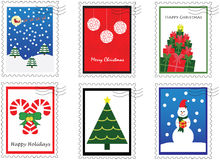 Six Christmas Stamps Royalty Free Stock Images