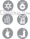 Six christmas symbols Stock Image