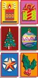 Six Christmas symbols: a Christmas tree. Six Christmas symbols: a candle, a gift bag, a Christmas tree Royalty Free Illustration
