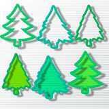 Six Christmas tree in set Royalty Free Stock Photos