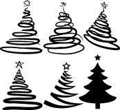 Six Christmas-trees. [Vector] Stock Images