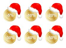 Six christmass business promo stickers Royalty Free Stock Photography