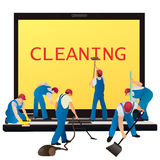 Six cleaners with big notebook Stock Image