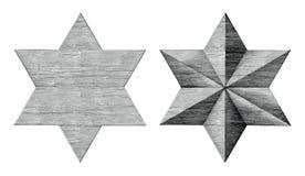 Six cliparts (images graphiques) noirs et blancs d'étoile de main d'aspiration de style aigu de cru d'isolement sur le fond blanc illustration de vecteur