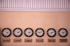 Six clocks Royalty Free Stock Photos