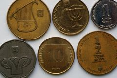 Six coins of the State of Israel - Shekel. Obverse coins. Twelve-stringed harp resembling the seal of princess Ma`adana. Replica of a coin issued by 37 - 40 B.C Stock Image