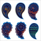 Six cold colors paisley ornament elements Royalty Free Stock Images