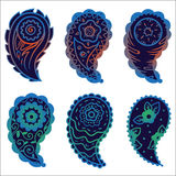 Six cold colors paisley ornament elements Royalty Free Stock Photography
