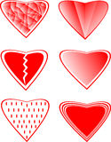 Six of collection of different  heart Royalty Free Stock Images