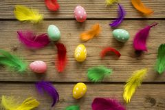 Easter eggs with feathers on wooden table royalty free stock photo