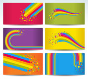 Six color cards with rainbow Stock Photos