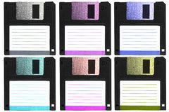 Six color of diskettes. Stock Photos