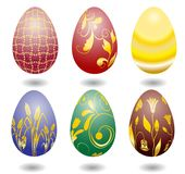 Six color easter eggs. Over white background Vector Illustration