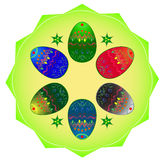 Six color Easter eggs. Easter eggs on green lobed platter Royalty Free Stock Photo