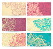 Six color natural patterns. Vector hand drawn set of six color natural patterns Royalty Free Stock Images