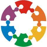 Six color puzzle circle. Vector illustration Stock Images