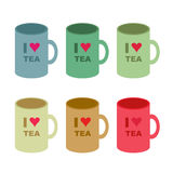 """Six Color Variants of """"I Love Tea"""" Cup on White Background. Six Color Variants of """"I Love Tea"""" Cup on White Background. Isolated  illustration, muted Royalty Free Stock Images"""