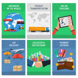 Six color vertical banners transportation. Vector six colored vertical flat logistics and delivery banners. Transportation by air, truck, maritime Royalty Free Stock Photo