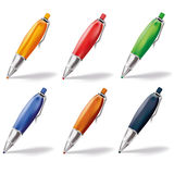 Six colored ballpoint pens Royalty Free Stock Photos