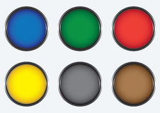 Six colored buttons Royalty Free Stock Image