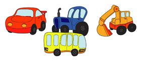 Six colored cartoon cars and transport designed like stickers appear on white stock footage
