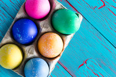 Six colored dyed Easter eggs with copy space Royalty Free Stock Photo